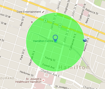 A 400 meter radius from the Hunter St GO Station