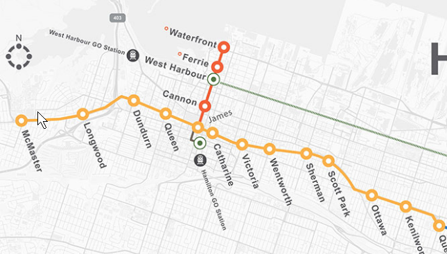 The currently proposed LRT running from McMaster University to the Queenston Traffic Circle with the A-Line spur to the waterfront drawn in as well.